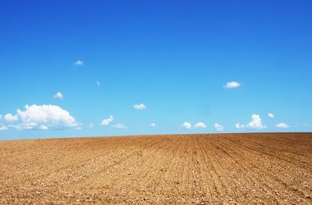 ploughed field under blue sky Stok Fotoğraf - 102002908