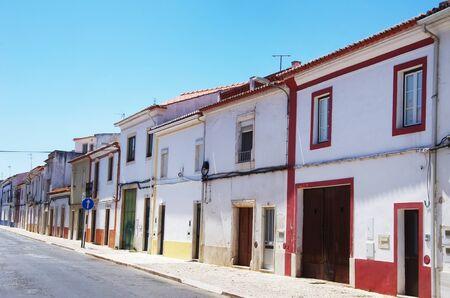 colorful facades at south of Portugal, Borba city Standard-Bild - 131221418