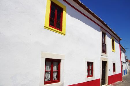 colorful facades at south of Portugal, Borba city Standard-Bild - 131221420