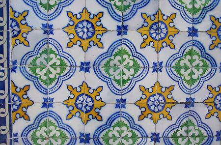 colorful panel of portuguese tiles Standard-Bild - 131221423