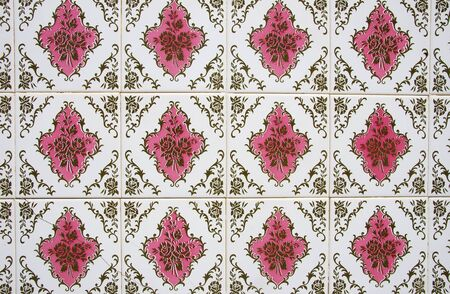 pink panel of portuguese tiles Standard-Bild - 131221433