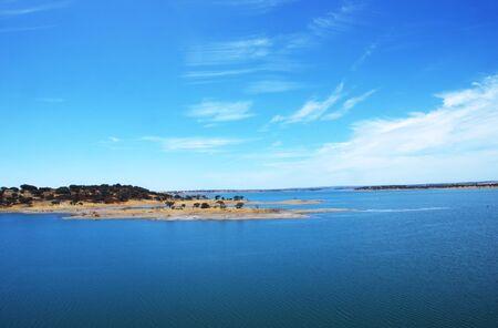 Alqueva lake near Luz village, Portugal Standard-Bild - 131221437