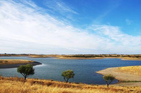 Alqueva lake near Estrela village, Portugal Standard-Bild - 131221439