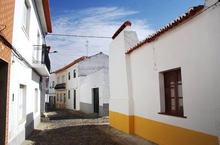 old facades, street of Moura village, Portugal Standard-Bild - 132814325