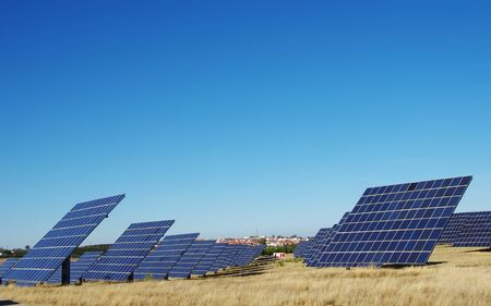 photovoltaic panels in park at south of Portugal Standard-Bild - 136270110