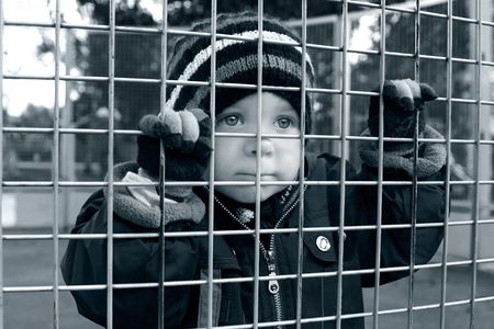 serious child looking through fence Stock Photo - 6343323
