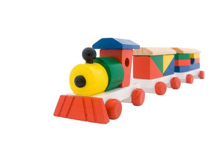 wooden train isolated on a white background photo