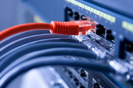 red informatica: los cables están conectados al switch de internet. Uno de ellos es líder. Profundidad superficial de campo.