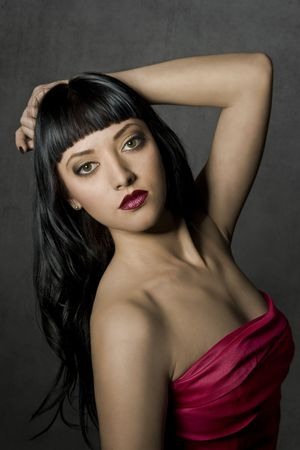 Portrait of a beautiful woman. Looking At Camera. Glamour  make-up. Full red lips. Brown eyesfashion art photo. Stock Photo - 7052486