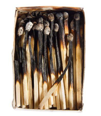matchbox full of burned matches isolated  on white background photo