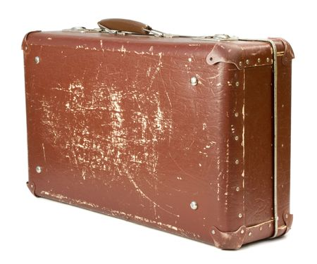 antiquarian: worn-out old suitcase on white background Stock Photo