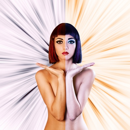 Beautiful naked woman holding something on hands. Colored as hot and cold. abstract background. photo