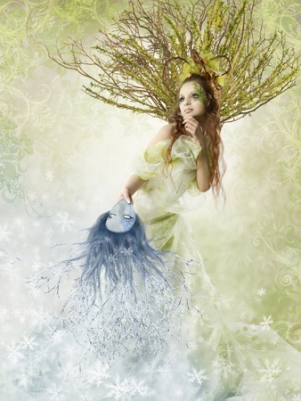 Beautiful spring woman holding winter mask. Change of seasons. Floral background. photo