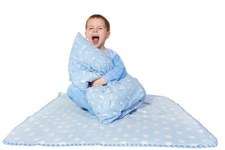 Little child sitting on blanket and shout loudly. White background Stock Photo - 8679725
