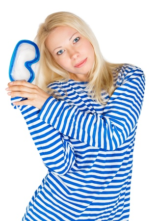 Blond woman with diving mask in sailor striped dress. Isolated white background Stock Photo - 9168779