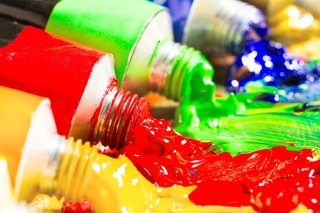 Multicolored tubes of paint. Several colors. shallow depth-of-field. Stock Photo - 9168776