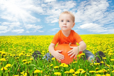 Child in dandelion flowers field, holding pumpkin. Sunny spring day photo