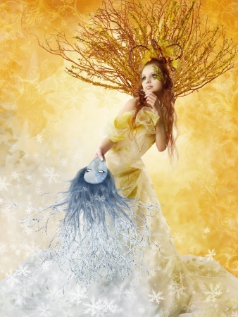 Beautiful autumn woman holding winter mask. Change of seasons. Floral background. photo