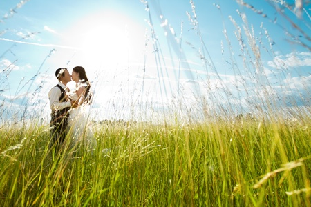 Beautiful bride and groom standing in grass and kissing. Wedding couple fashion shoot. photo