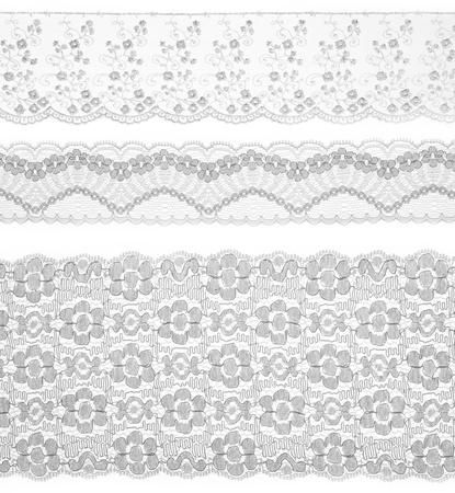 ribetes: Encaje adornos de cinta en blanco. Set de tela bordada. Primer plano