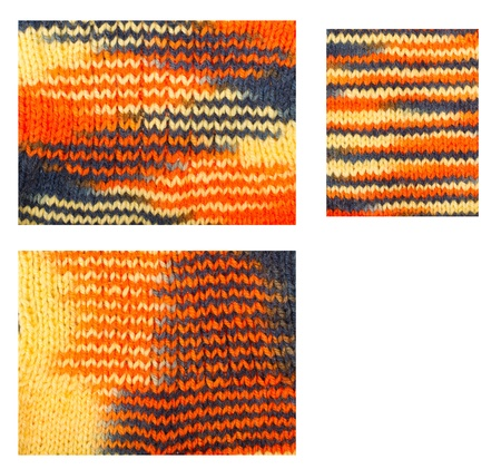 Knitted woolen pattern closeup. Set of three pieces closeup over white photo
