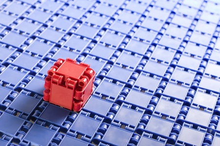 briks: individuality, abstract building blocks of  red and blue elements briks