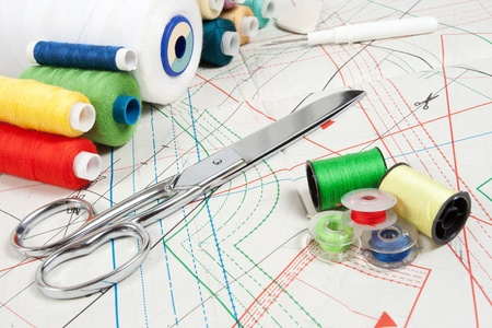 sewing background: metal scissors, multicolor threads and sewing curve photo