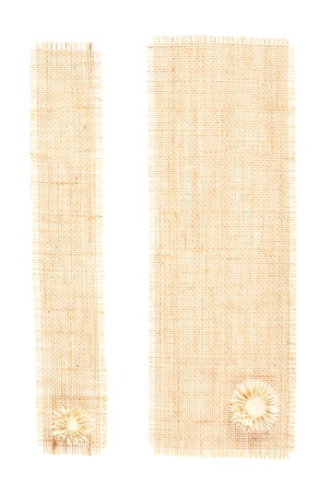 sackcloth tags with decor over white. set of two burlap fabric photo