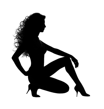 nude girl sitting: woman sexy silhouette over white  background Stock Photo