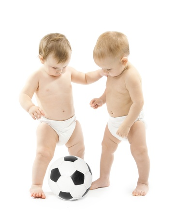 young diapers: Two babies playing soccer ball over white background  Kids physical development