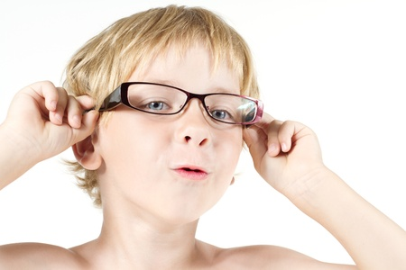 Funny child in eyeglasses. Close up portrait Stock Photo - 14665927