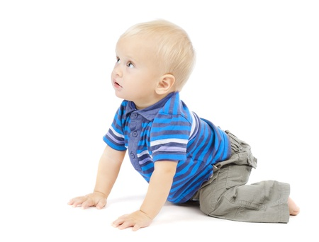 all smiles: active one year baby crawling over white background Stock Photo