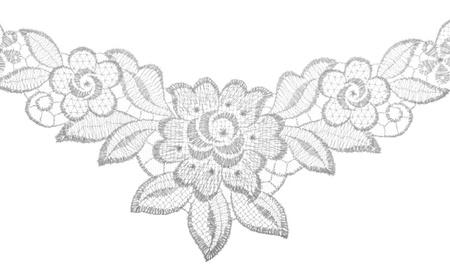 ribetes: Bordes de encaje bordado en blanco. Tela textura. Primer plano