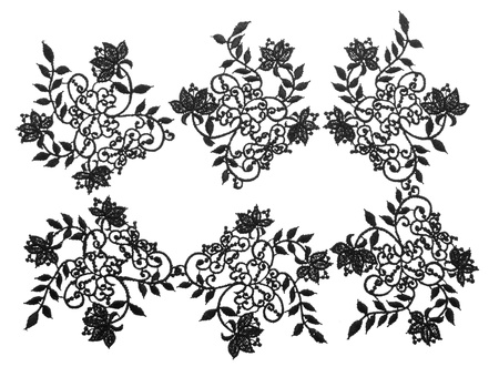white trim: Embroidered lace trim over white. Fabric texture set . Close up