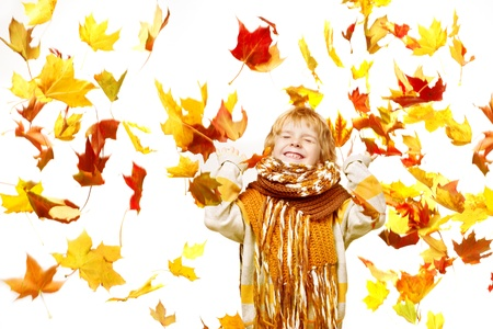 fall fun: Child in autumn leaves. Maple fall over white Stock Photo