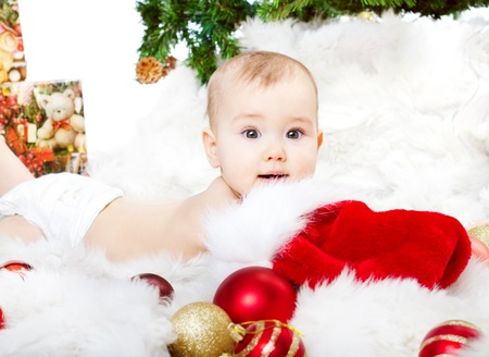 Christmas baby lying fur Stock Photo - 16250530