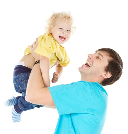 Happy father playing with  child raising him up over white Stock Photo - 16660426