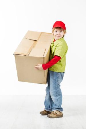 Boy holding big carton box. White background Stock Photo - 16660425