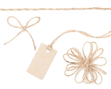 bow knot: Rope bow tag  Jute wrapping collection for present and pricing  Close up