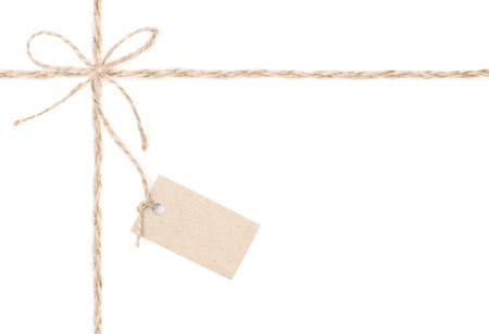 Rope bow tag   Jute wrapping  for present and pricing  Close up  photo