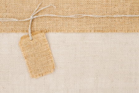 burlap texture: Sackcloth tag pricing over burlap texture Stock Photo