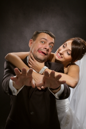 girl fighting: Married couple angry quarreling and fighting Stock Photo