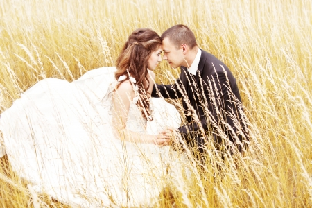 Beautiful bride and groom  in grass.  Wedding couple outdoors photo