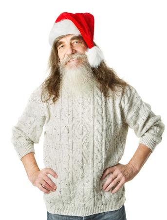 weihnachtsmann lustig: Weihnachten alten Mann mit Bart im roten Hut, Santa Claus lustige Parodie Lizenzfreie Bilder