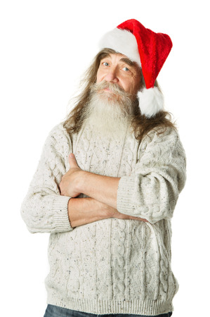 parody: Christmas old man with beard in red hat, Santa Claus funny parody    Stock Photo