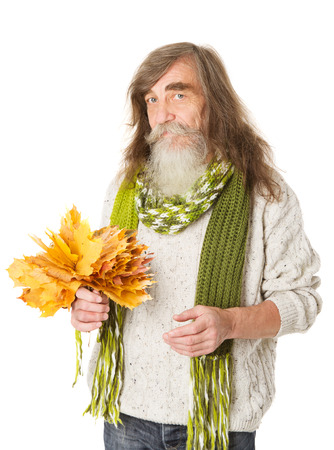 bearded: Happy Senior man holding maple leaves over white background.