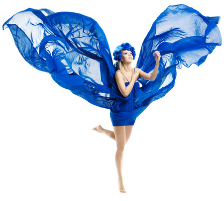 Woman in blue flower crown in chiffon waving fabric flying wings over isolated white  Foto de archivo