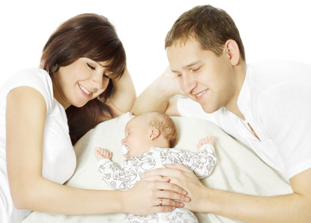 Happy family embracing sleeping newborn baby  Parents and child over white   Stock Photo
