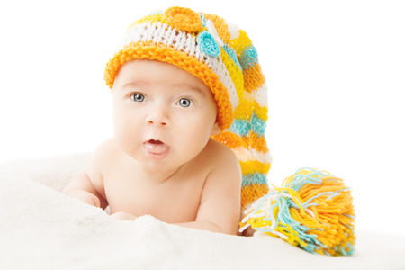 Baby hat newborn portrait in woolen cap isolated over white background  Stock Photo - 25549464 9e6c3ce74ed