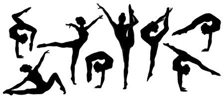 the acrobatics: silueta bailarina gimnasta, conjunto de mujeres bailarina pose flexible y humana sobre fondo blanco aislado